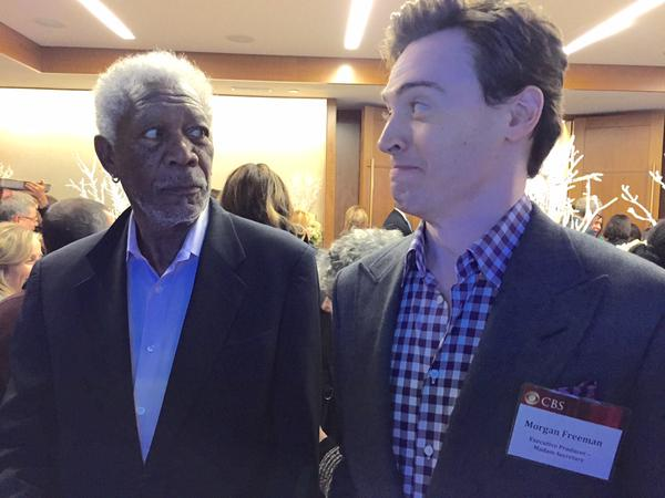 Morgan Freeman and Erich Bergen.