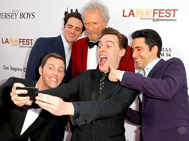 Erich Bergen with director Clint Eastwood and the cast of Jersey Boys.